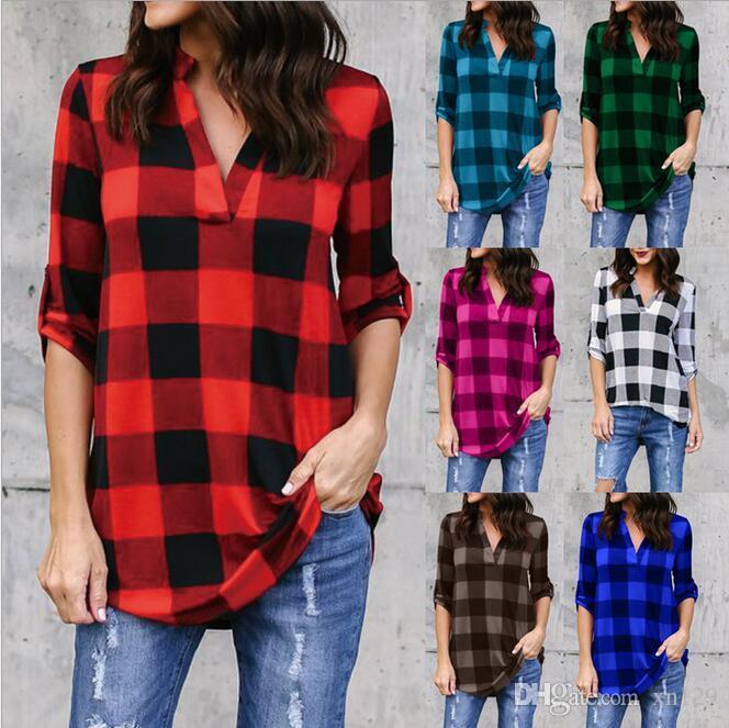 Cheque xadrez camisa das mulheres Tops Loose Plus Size V Neck blusa assimétrica Tops