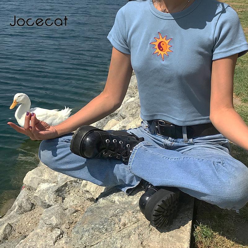 Verde linda de la cosecha camiseta superior chisme Sun verano de la impresión tapas para las mujeres 2020 de manga corta azul O-Cuello Camiseta Streetwear
