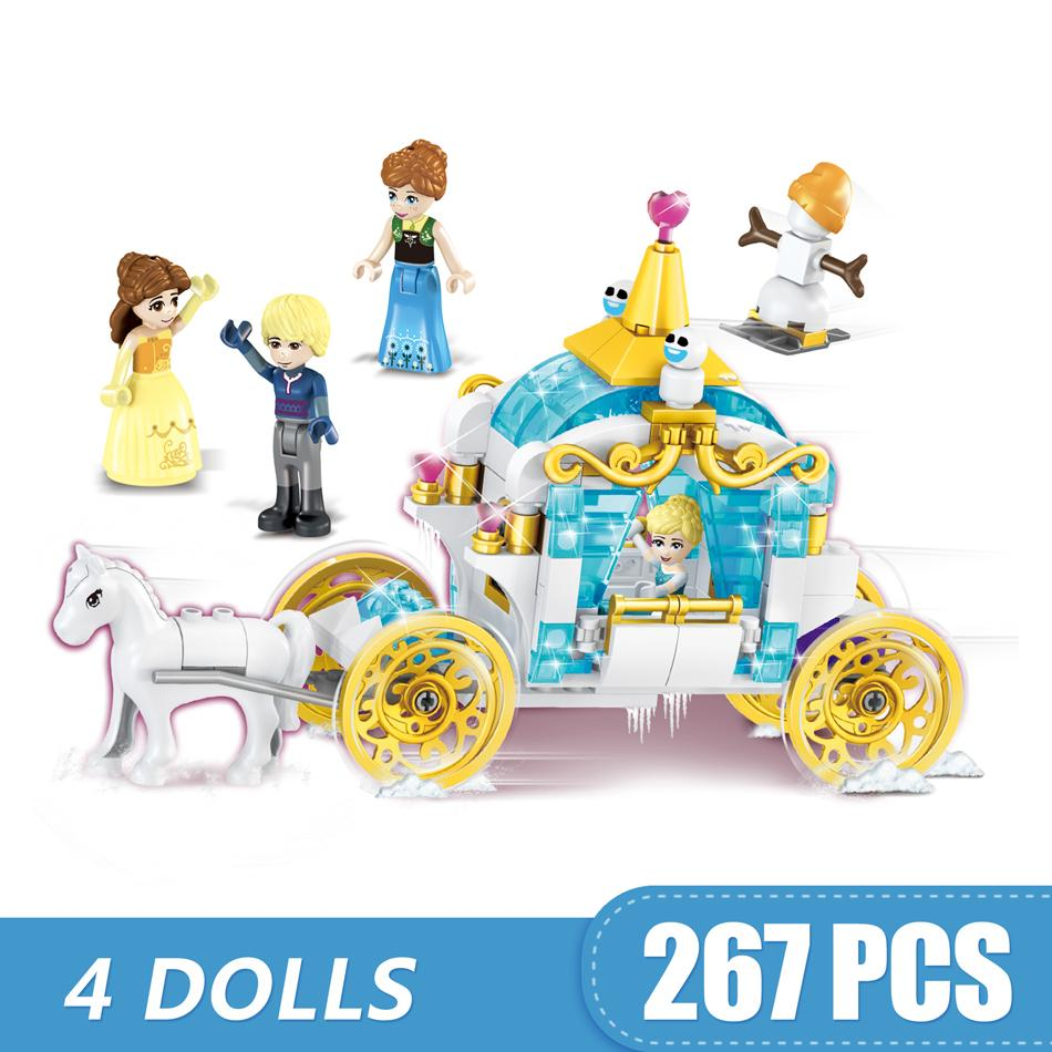 267PCS Small Building Blocks Toys Compatible with Legoe 4 In 1 Princess's Horse Carriage Gift for girls boys children DIY