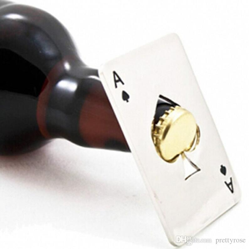 블랙 / 실버 스페이드 포커 카드 맥주 병 오프너 스테인레스 스틸 신용 카드 병따개 개인 바 도구 창조적 인 선물 DHL