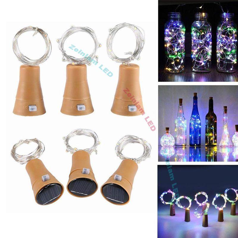 (10) LED 태양 광 와인 병 마개 구리 요정 스트립 와이어 야외 파티 장식 참신 밤 램프 DIY 코르크 빛 요정 문자열 LED 스트립