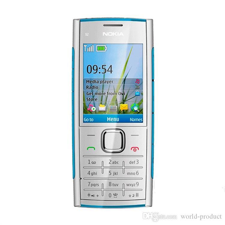 فتح تجديد الأصل الهاتف الذكي نوكيا X2-00 2.2inch GSM WIFI GPS وكاميرا 5MP مربع GSM الروبوت الذكي ختم