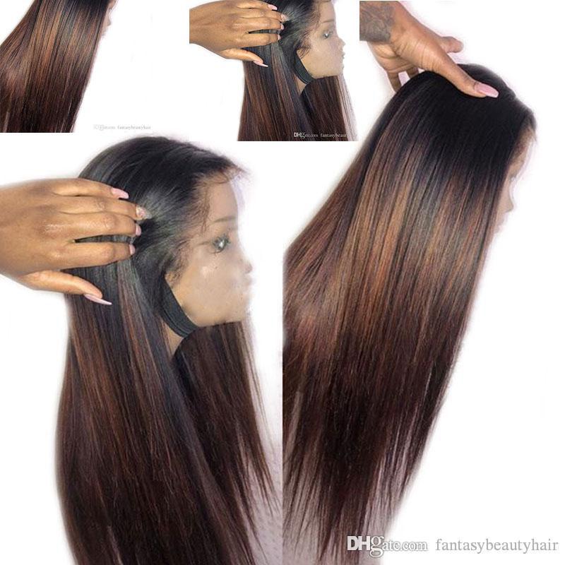 Ombre Honey белокурыми 360 фронта шнурка Человеческие волосы парик длинные прямые Remy бразильские волосы парики Браун полный парик шнурка предварительно сорвал отбеленные