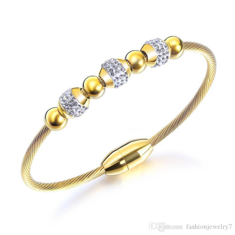 Fashion Gold Color Charm Design DIY Stainless Steel Bear Bangle Bracelet For Women Classic Style Jewelry Party Gift