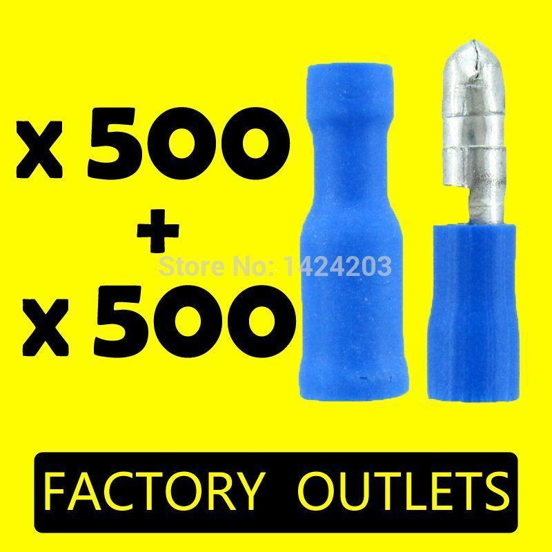 Freeshipping 1000pcs Blue MPD FRD2-156 Female and Male Insulated Electric Connector Bullet terminal for 16~14 AWG, Audio Wiring 500Pairs