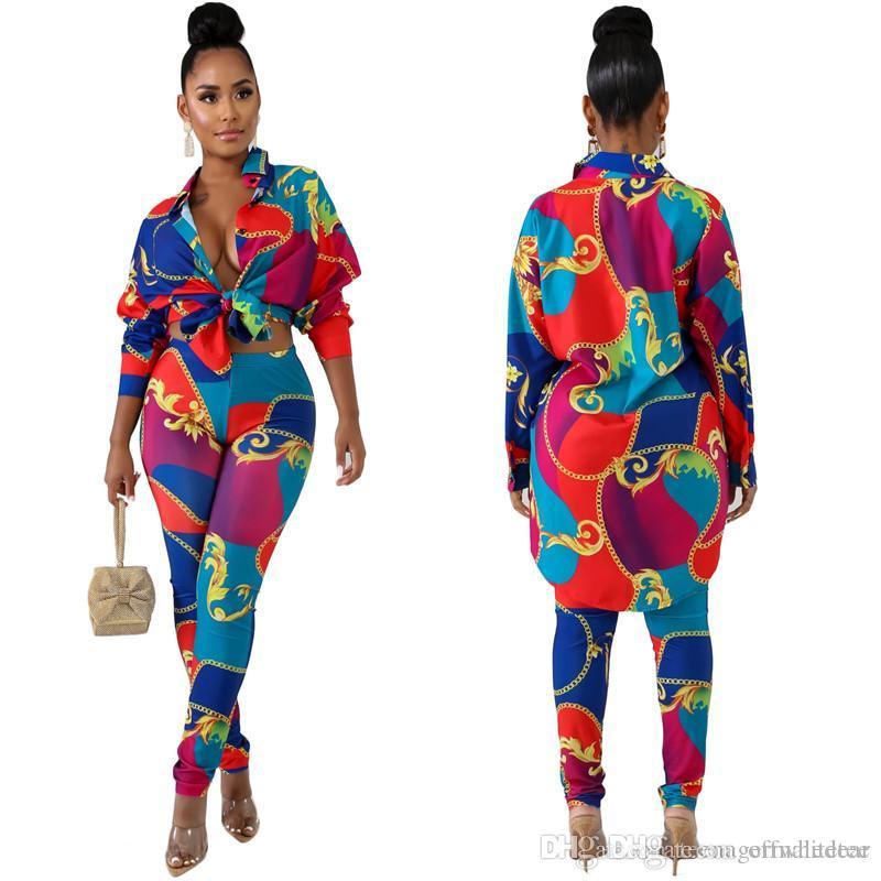 Женская Дизайнерская костюмы осень повседневные 2 шт Брюки Vintage Печатается с длинными рукавами лацкане Neck Длинные рубашки Мода женские костюмы