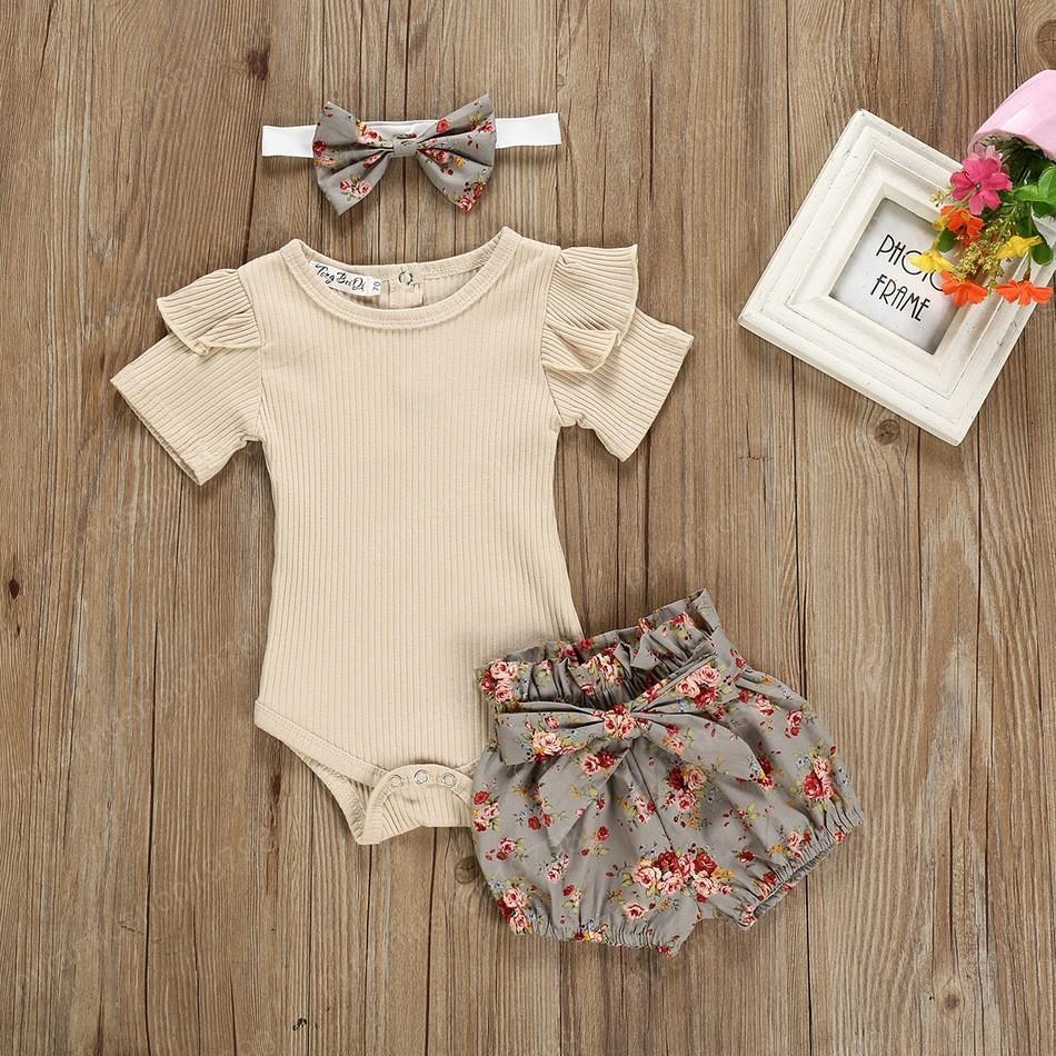 Kinder Designer Kleidung Baby Mädchen Sommer Anzüge Trikot Blumen Shorts Stirnband 3 Stücke Sets Outfits Boutique Baby Kleidung Sets