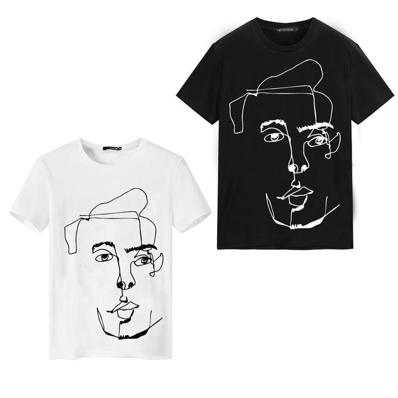 El algodón de la manga del nuevo verano de Boy Slim Fit O corta cuello camiseta de los hombres ocasionales de la manera pintada a mano del retrato placa radiante camiseta blanca Negro