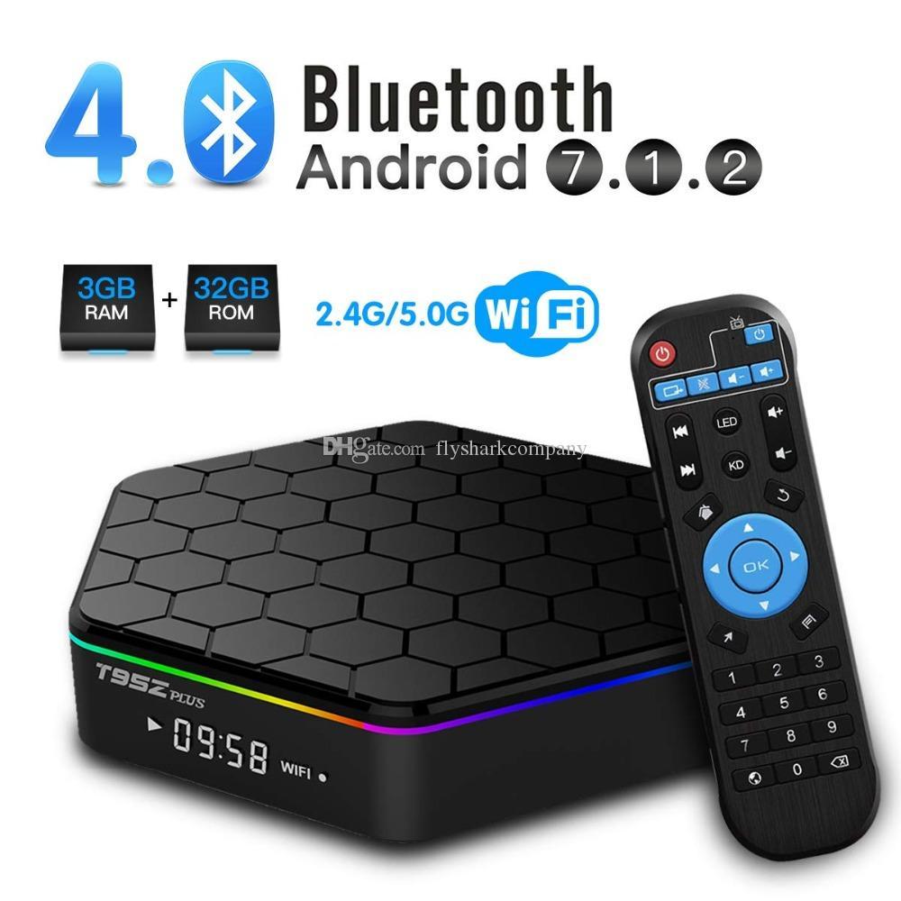 T95Z Plus Amlogic S912 TV Box de 2 GB + 16 GB Octa-doble núcleo Wifi 2.4G + 5G BT4.0 H.265 Android 7.1 Smart TV Box