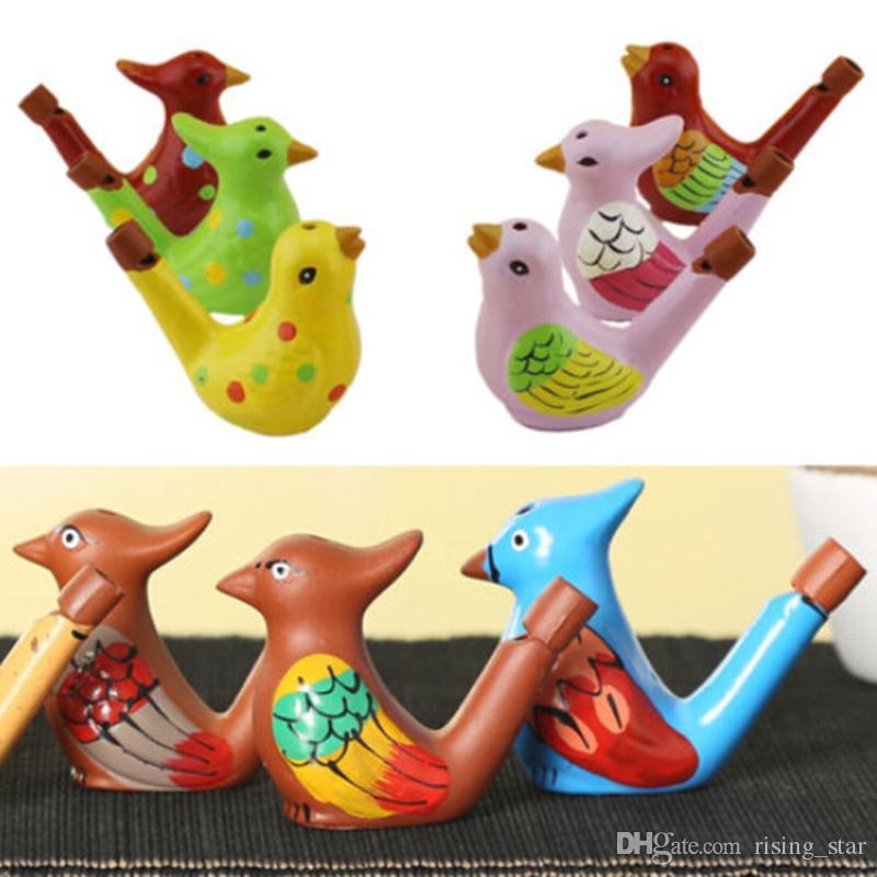 DHL Pájaro de agua de cerámica hecho a mano Silbato pintado Arcilla Ocarina Artesanías Silbato de pájaro de agua de cerámica Color aleatorio 100 p