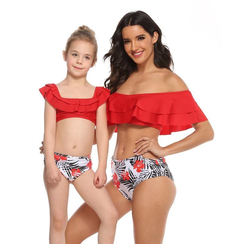 Mutter Mädchen Swim Wear Mom Daughter Floral Ruffle Bikini-Frauen-Bikini-Baby-Kind-Badeanzug Bademode 2020 Familie Spiel Outfits Hot S690