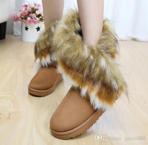 2019 dorp grátis moda coelho cabelo e pele de raposa no tubo de correspondência de cores botas de inverno neve quente para as mulheres senhoras FJE8473