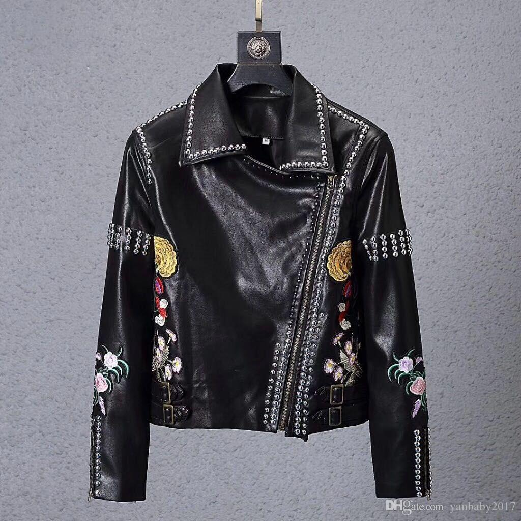 Rivetti in metallo Pu uomini teschi Faux Leather jacket hip hop giacca casual Mens di alta qualità di lusso di abbigliamento fitness Outerwear Coats maschio M-3XL