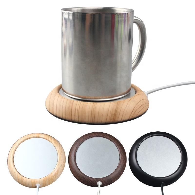USB portátil eléctrico taza de la taza de té Warmer la bebida del café del cojín de calefacción Mat Mantener la bebida caliente de madera del grano