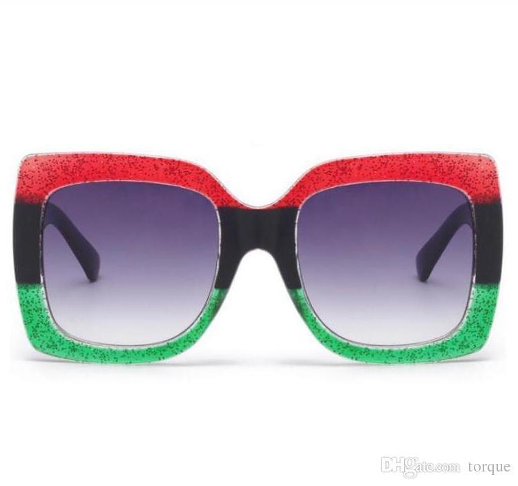 Trendy Fashion Big Box Damen Sonnenbrille New Europe and America Wilde dreifarbige quadratische Sonnenbrille für Herren und Damen
