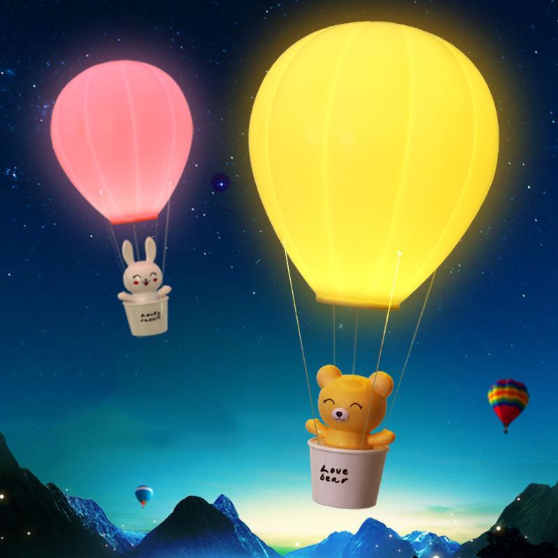 Montgolfière Night Light LED Télécommande tactile Commutateur Atmosphere bébé Table de chevet Lampes Lampe Veilleuse mur portable pour enfants USB