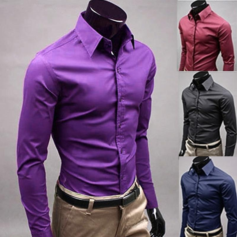 Men 's Fashion Candy Color Long - sleeved Slim Business Casual Shirt Men Luxury Stylish Casual Dress Slim Fit Casual
