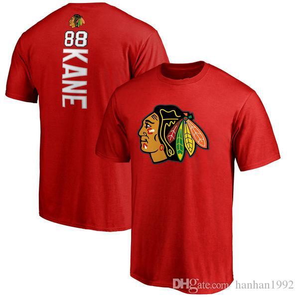 الرجال شيكاغو بلاك هوك T قميص 19 # جوناثان تويوز 50 # كوري كراوفورد 88 # باتريك كين الهوكي جيرسي قصيرة الأكمام طباعة تي شيرت