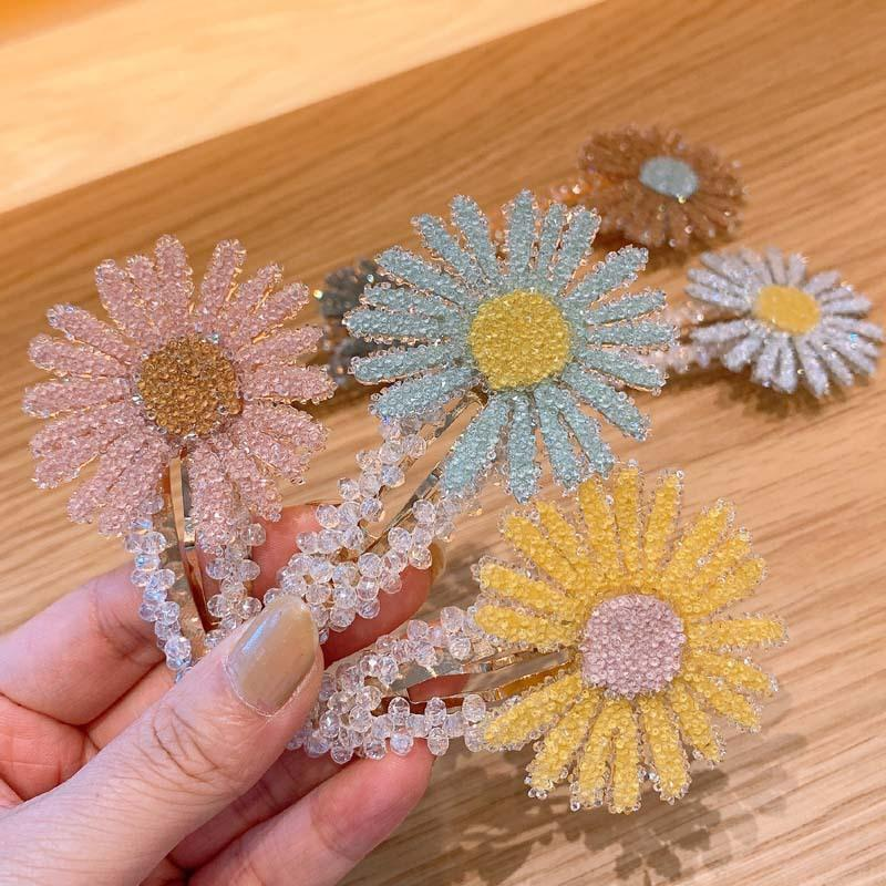 Cheer Bows Summer Fresh Daisy Hairpins Crystal BB Clips Flower Bling Side Clips Snap Barrette Stick Hair Styling Accessories