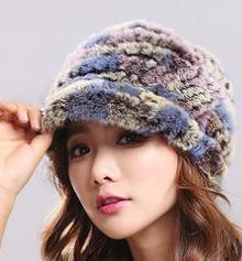 Rex rabbit fur hat fur thick warm ear protection wool knit fox fur flower cap