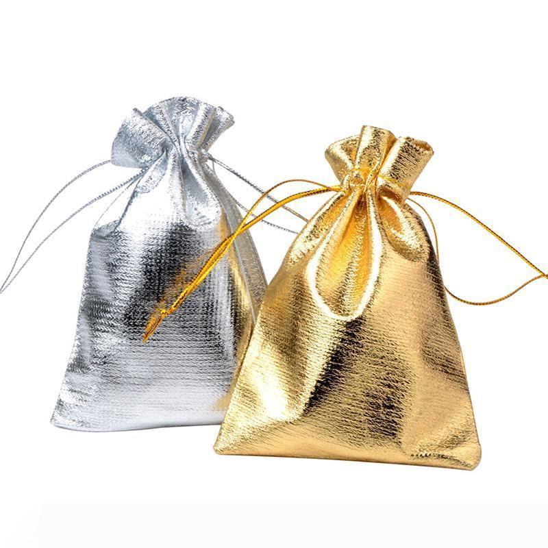 B 1pc 7x5cm 9x7cm 11x8cm Adjustable Jewelry Packing silver and gold colors drawstring Velvet bag Wedding Gift Bags & Pouches