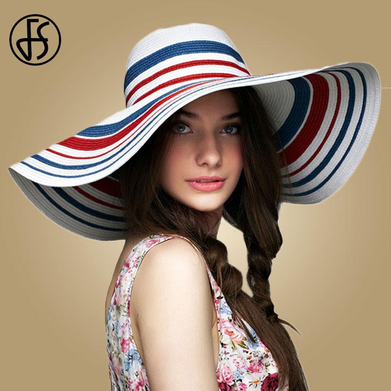 wholesale White Straw Hat For Women Summer Beach Sun Hats Blue Red Striped Visors Cap Women Large Wide Brim Lady Casual Foldable Caps