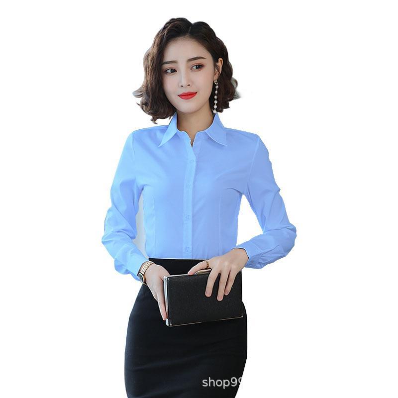 Elegante Mulheres Chiffon Escritório Blusas Primavera manga comprida lapela Magro azul camiseta Trabalho Mulheres Moda Feminina Casual Mais de Tops Tamanho