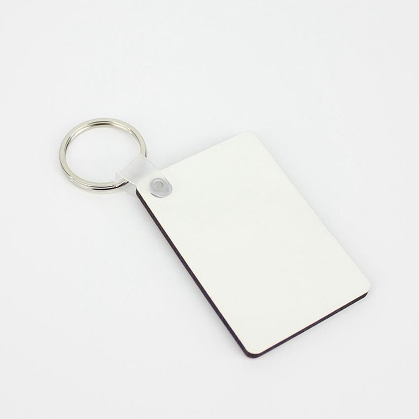 MDF فارغة مفتاح سلسلة مستطيل التسامي مفتاح خشبي العلامات للحرارة الصحافة نقل الصور شعار هدية الطباعة الحرارية على الوجهين ZZA1883