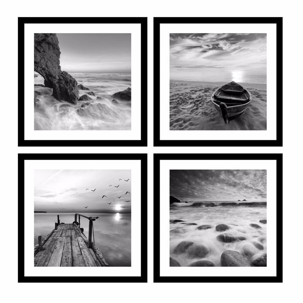 اللوحة الأسود والأبيض جدار الفن صور 4 لوحة الحديثة وحدات صور أختام على شاطئ البحرية اللوحة البحر قارب الغروب