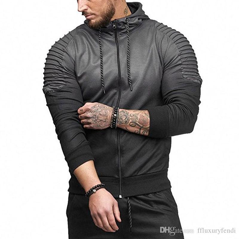 Мужская мода весна Hiphop костюмы Повседневный Спорт Топы Полосатый Складки 3D Printing Gradient Мужской Hoodie Продажа
