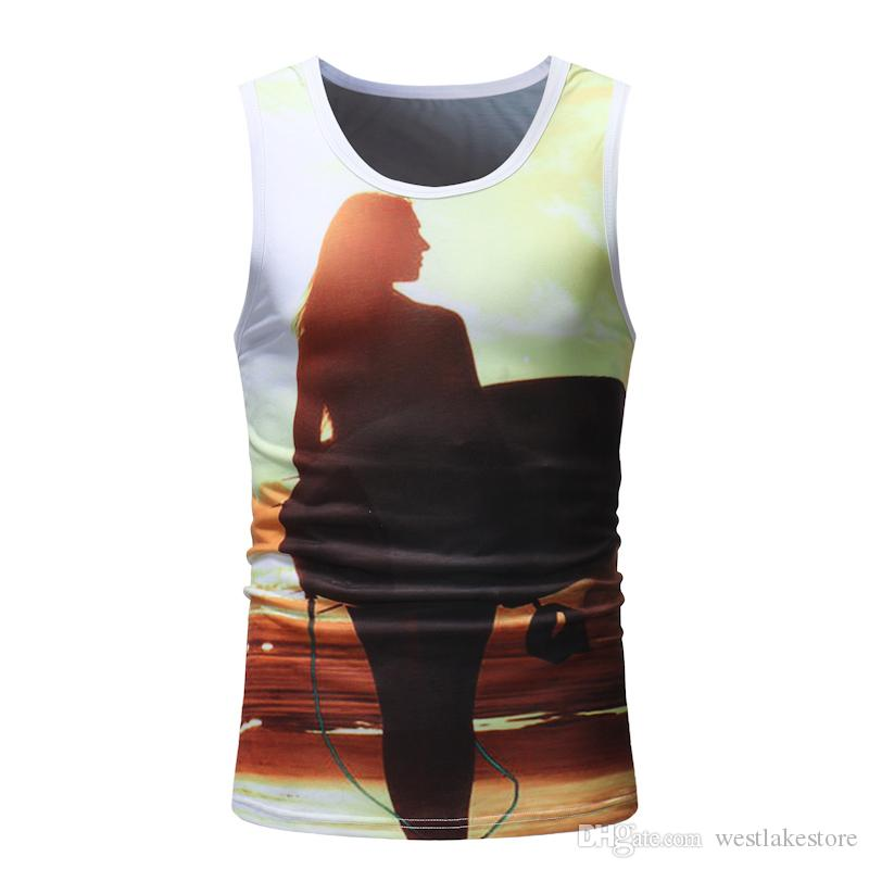 Summer Tops Men Tank Tops Sleeveless Casual Vest 3D Print Luxury Gold Tank Top Bodybuilding Shirt Mens Singlets