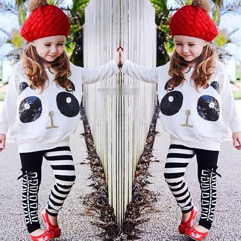 Herbst Kinderkleidung Set Pailletten Langarm-Weiß-Sweatshirt + Long Pants Casual Muster Mädchen-Kleidungs-Satz 3T-7T