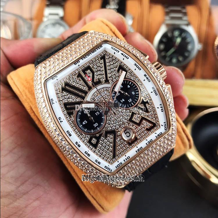 Best Edition V45 SC DT 3d Stereoscopic Number Date Dial Rose Gold Diamond Steel Case VK Quartz Chronograph Mens Watch Leather Strel Watchs