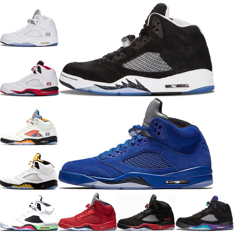 Nike air jordan 5 Basketball Shoes Blue suede oreo Sneakers Mens white Grapes bred white Grapes Space Jam Metallic Silver Fire Red airJordanWhite Cement Sneakers