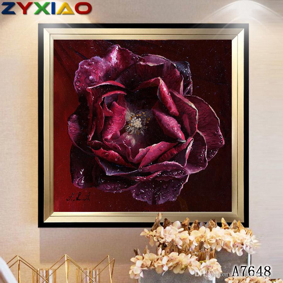 ZYXIAO fiore rosa rossa Stampa Pittura A Olio Wall Art immagine stampa su tela No Cornice per camera da letto soggiorno casa mosaico decor regalo A7648
