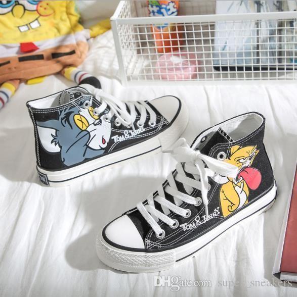 2020 estilo japonés animado altos zapatos de Tom y Jerry zapatos de lona Zapatos de Graffiti Hombres Mujeres Estudiantes de lona lindos de la historieta 2019 zapatillas de deporte casuales