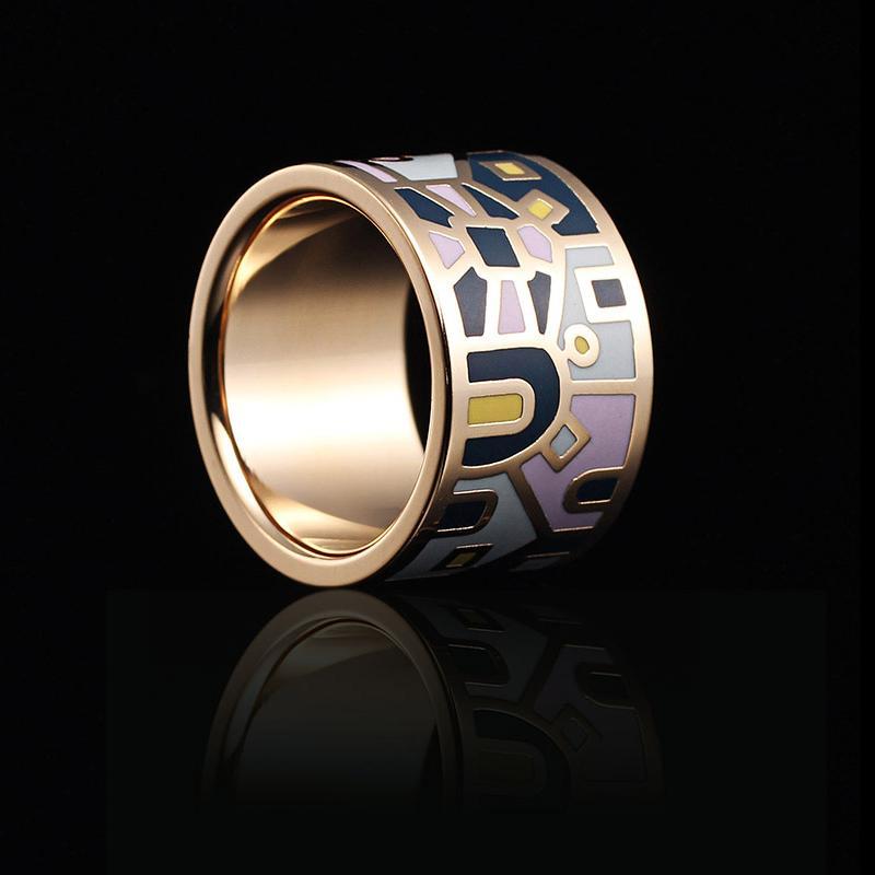 RX Best-seller en Europe et en Amérique boutique anneau en acier inoxydable exquis émail émail mode anneau boucle chain.scarves
