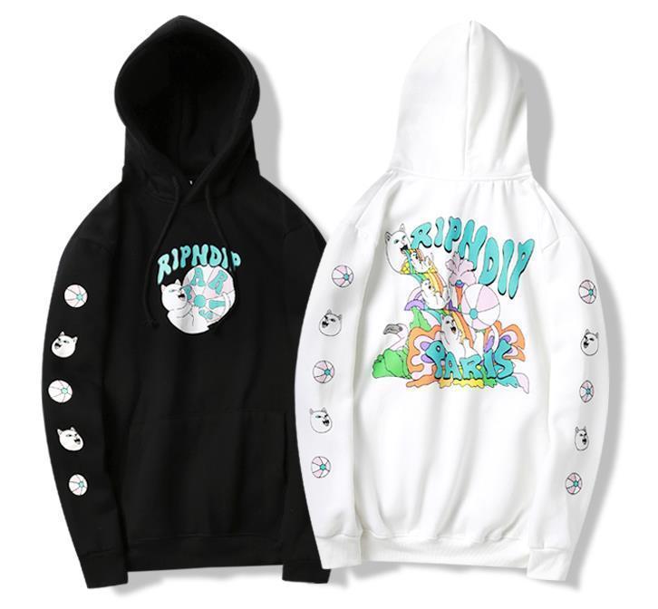 Uomo fine arcobaleno cascata hoodie spiedo dito medio gatto incappucciato più il maglione di velluto coppia dello stesso stile pullover maglione con cappuccio