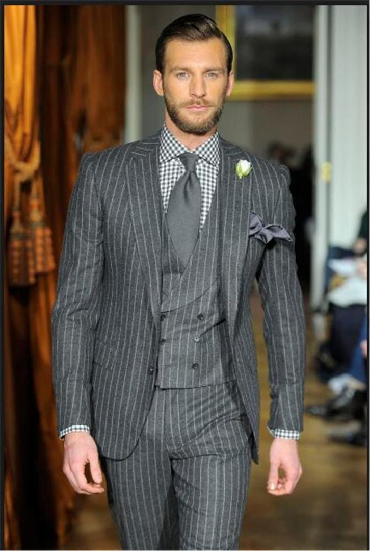 Últimas Brasão Pant Designs fumadores Cinza Homens Suit Slim Fit 3 peça Tuxedo personalizado Prom Blazer noivo Ternos Terno masculino