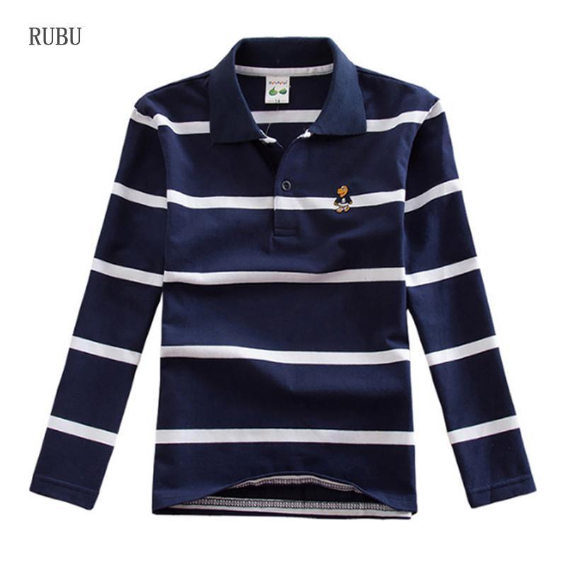 J190529Teen بنين 3y-16y قميص الاطفال ربيع الخريف أزياء طويلة الأكمام مخطط القطن تي شيرت الأطفال الأولاد المحملة القمم 14 16 J190529