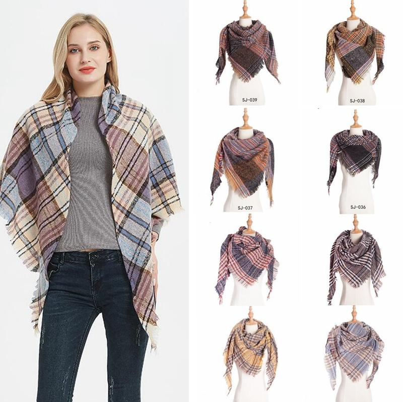 Защитный шарф девочек проверить тазон обертывания сетки решетка шаль негабаритный треугольник шеи шарфы полотна пашмина зима шеечник одеяла YPP6456