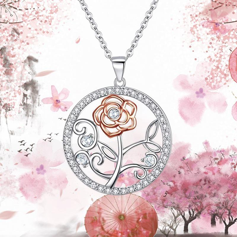 Vintage Rose Necklace Pink 5A Zircon Pendant Women Girls Full Rhinestone Necklaces Female Jewelry Christmas Gift
