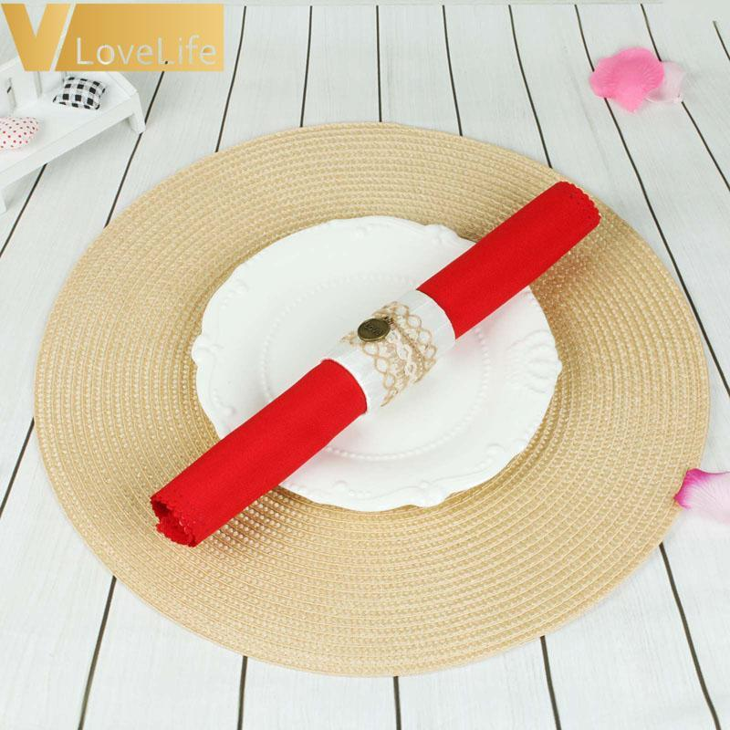 Round Weave Placemat Fashion PP Dining table mat Disc Pads Bowl Pad Coasters Non-Slip Waterproof Table Decoration 38cm