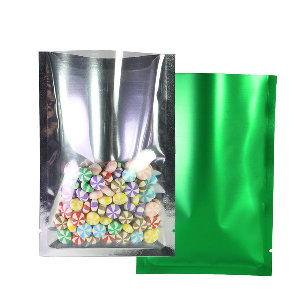 High Quality 100pcs one side clear one side green Package Bag Aluminum Foil Plastic Heat Sealing Open