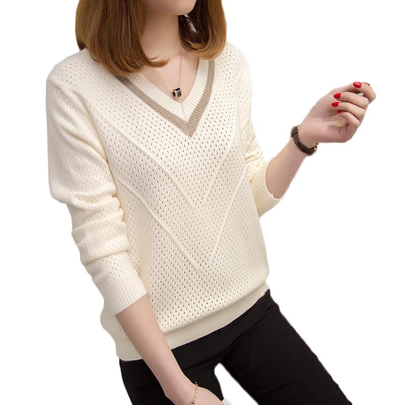 2020 otoño invierno suéter con capucha de las mujeres caliente hueco suéteres mujeres sueltan el suéter de punto con cuello en V Mujer fresca pequeña