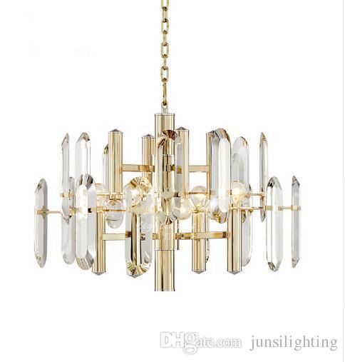 Post-modern living room dining room pendant lamp luxury villa simple metal crystal pendant lights big gold