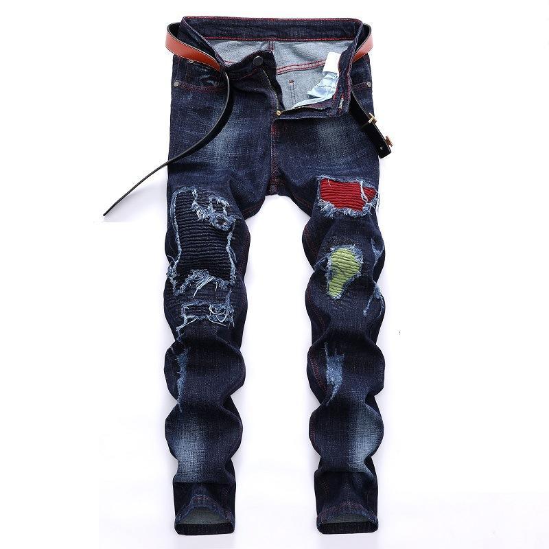 새로운 남성 디자이너 청바지 진한 파란색 탄성 자전거 타는 바지 남성 바지 패치 워크 청바지 패션 트렌드를 파괴