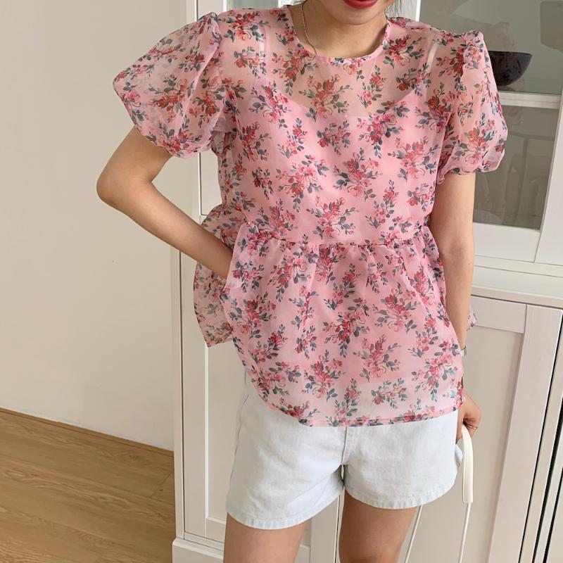 Femmes Rose Organza Floral Blouses femmes 2020 Nouvelle été coréenne style élégant doux shirt à manches bouffantes en vrac Hauts Blusas