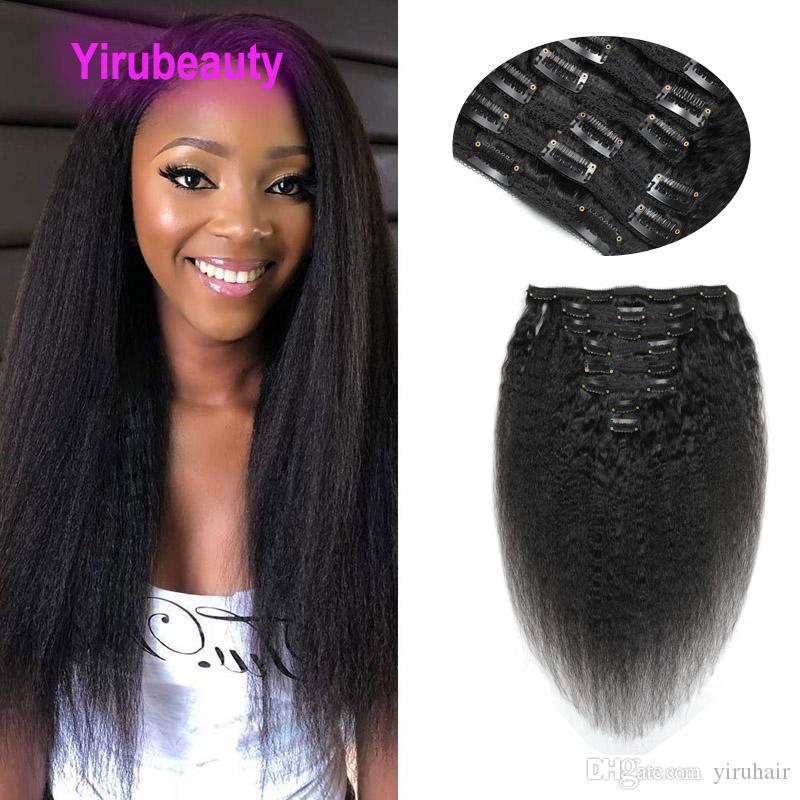 Saç Uzantıları Kinky Düz 120g / lot İnsan Saç Ürünleri Vizon Yirubeauty 120g Başına Set Hint Bakire Saç Klip