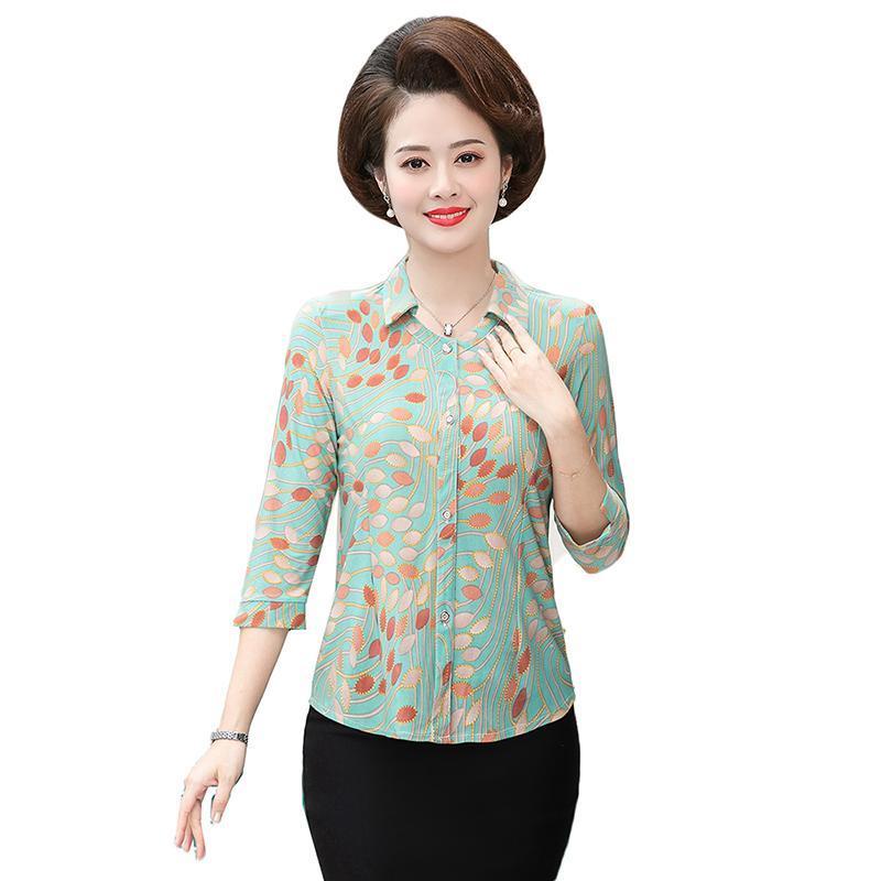Mittelalter-Frauen-Bluse 2020 Frühling, Sommer, New Plus Size 5XL Mutter Kleidung bedrucktes Hemd Blusa Feminina Cardigan Tops Mujer Y58